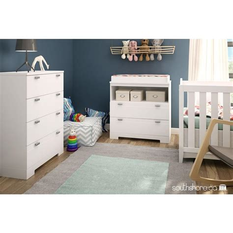 South Shore Reevo 2 Drawer Pure White Changing Table South Shore Collection Changing Table White
