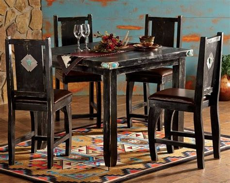 southwestern  piece table chairs rustic dining room