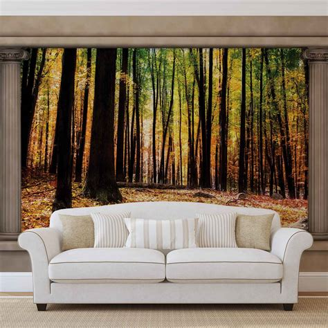 woodland wall mural nature woodland forest window view wall mural photo wallpaper 2865dk ebay