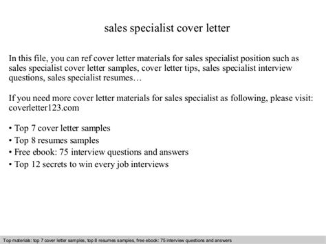 Sales And Marketing Specialist Cover Letter by Sales Specialist Cover Letter