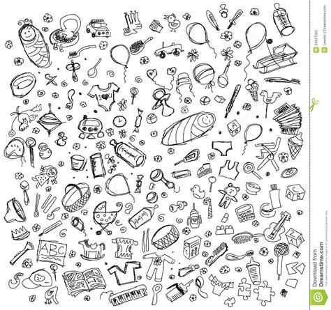 sketchbook vector vector sketch background with baby stuff stock photography