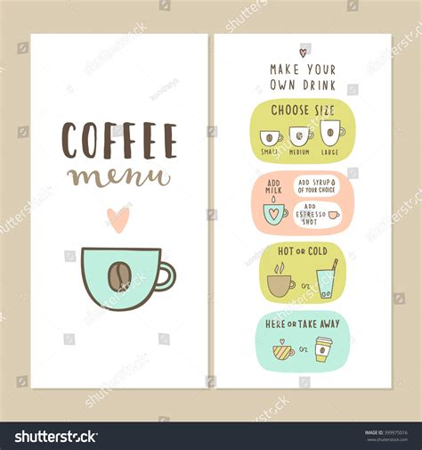 create your own menu template coffee bar menu template make your stock vector 399975016
