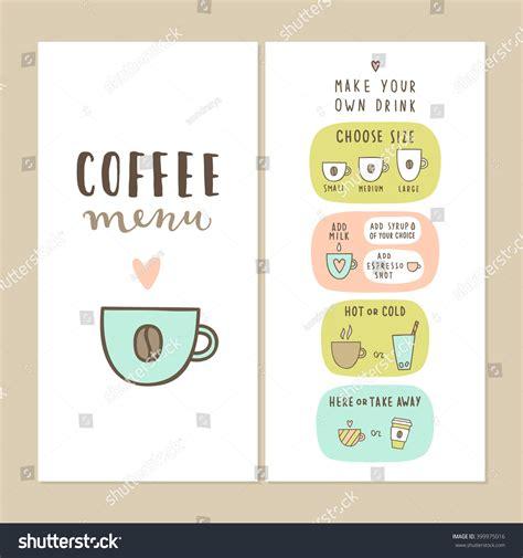 make your own menu template coffee bar menu template make your stock vector 399975016