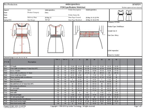 design for manufacturing worksheet sle tech pack