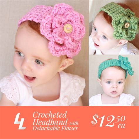 adorable baby headband kylah s baby blues by crocheted baby headband with detachable flower ladylion co