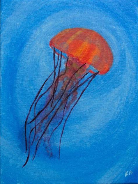 acrylic painting jellyfish orange jellyfish acrylic painting on 9x12 stretched canvas