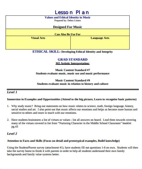 8 Sle Music Lesson Plans Sle Templates Free Personal Program Template