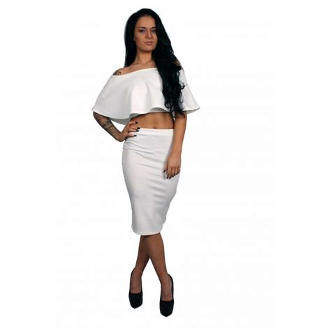 white frill crop top midi pencil skirt set