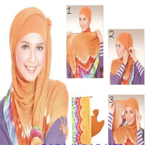 tutorial gambar cara memakai jilbab tutorial dan gambar cara memakai jilbab model pelangi jpg