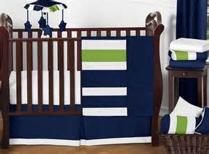 Blue And Green Crib Bedding Set Navy Blue And Lime Green Stripe Baby Bedding 11pc Crib Set By Sweet Jojo Designs Only 189 99