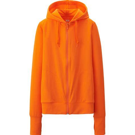 New Jaket Sweater Polos Hoodie Zipper Orange Oren uniqlo airism uv cut mesh sleeve zip hooded jacket in orange lyst