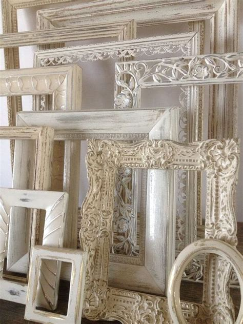 cheap shabby chic frames salts white picture and empty frames on