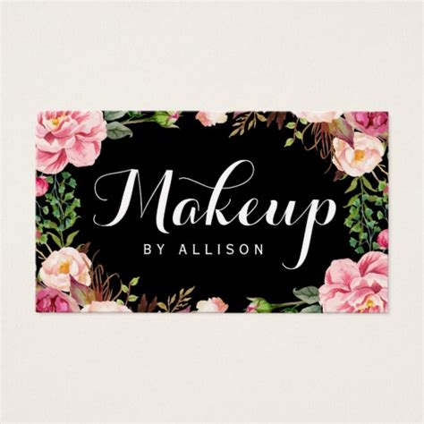 Makeup Artist Name Card Template by Makeup Artist Modern Script Girly Floral Wrapping Business