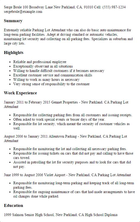 Sle Of Valet Parking Resume Professional Parking Lot Attendant Templates To Showcase Your Talent Myperfectresume