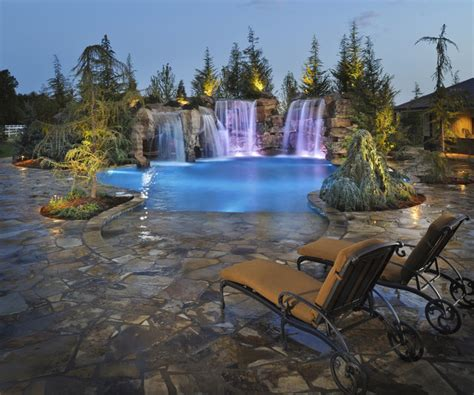 waterfalls grottos give this oklahoma pool