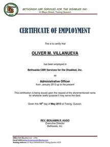 Certification Letter For Employment Sample Certificate Of Employment Sample Docx