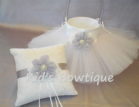 Wedding Pillow Sets by Wedding Flower Basket With Tutu And Matching Ring Bearer Pillow Set