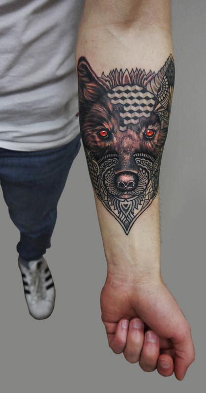 geometric realism tattoo semi realistic semi geometric dotwork wolf tattoo by obi