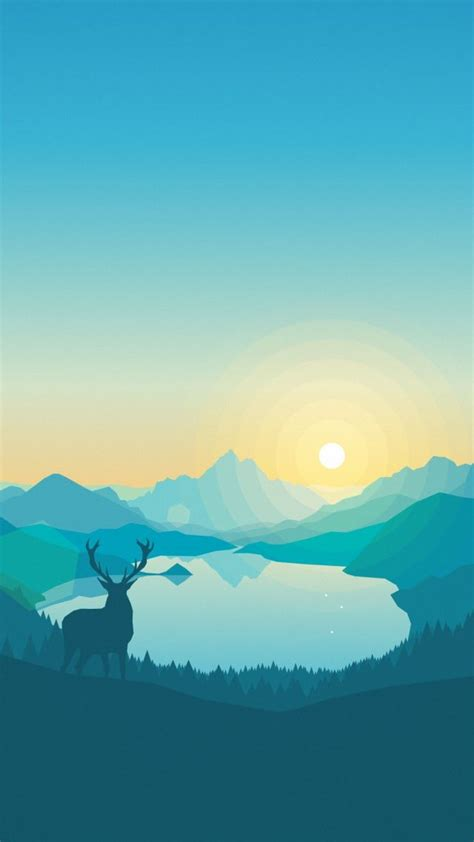 wallpaper iphone 5 flat wallpaper flat forest deer 4k 5k iphone wallpaper