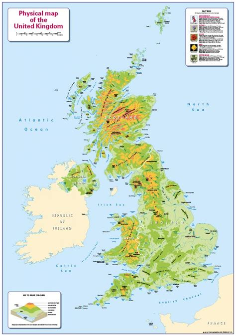 united kingdom map with mountains physical map of united kingdom