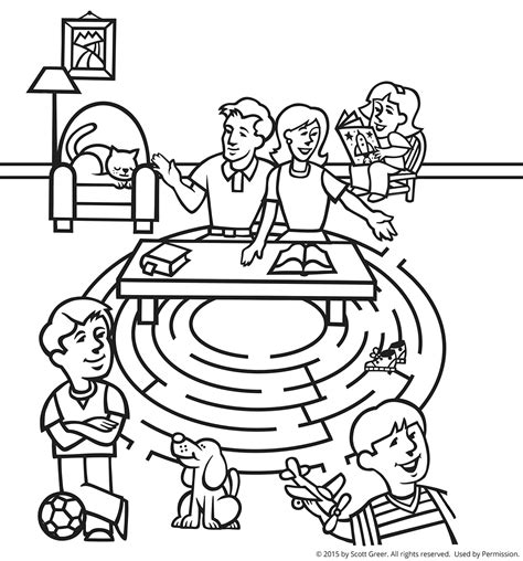 Galerry coloring page of family praying