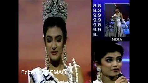 sushmita sen video of miss universe sushmita sen india miss universe 1994 crowning