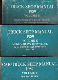 car engine repair manual 1989 ford e series security system 1989 ford medium heavy duty truck shop manual volumes d e 2 volume set