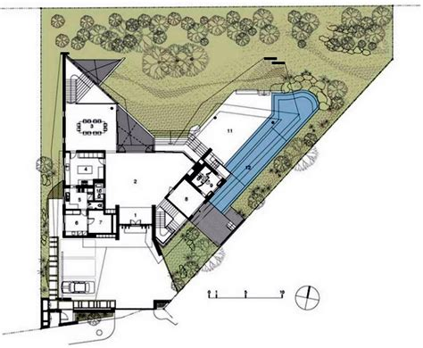 Narrow Lot House Plan modern house in singapore with trapezoid shape on a