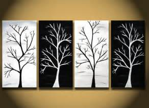 Black White Wall Decor Black And White Painting Huge Tree From Oritart On Etsy