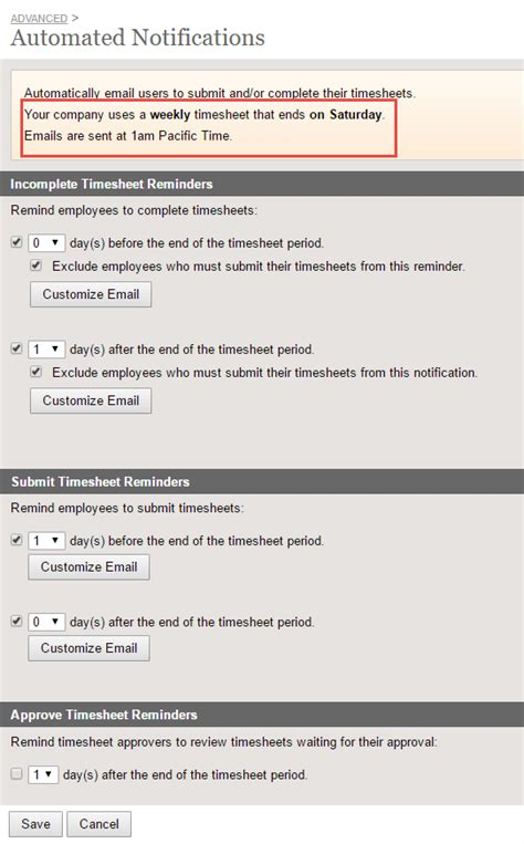 Automated Notifications Clicktime Support Timesheet Reminder Email Template