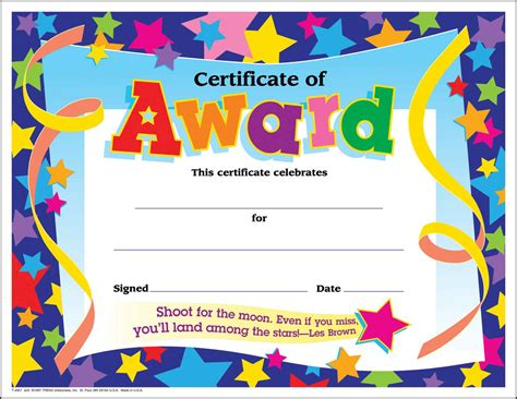 30 certificates of award large star certificate award