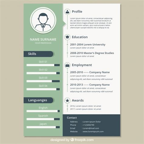 vintage resume template vector free download