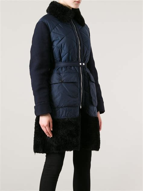 Quilted Coat With Fur by Marni Fur Quilted Coat In Blue Lyst