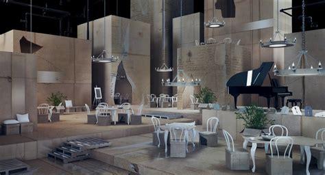 Home Temple Decoration Ideas by Elegant Restaurant Interior In Cardboard Theme Papiernia