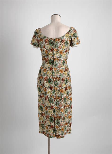 1950s 60s alix of miami flocked velvet dress hemlock