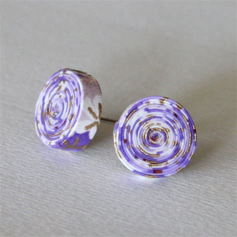 Paper Earrings - purple paper stud earrings paper jewelry gifts for