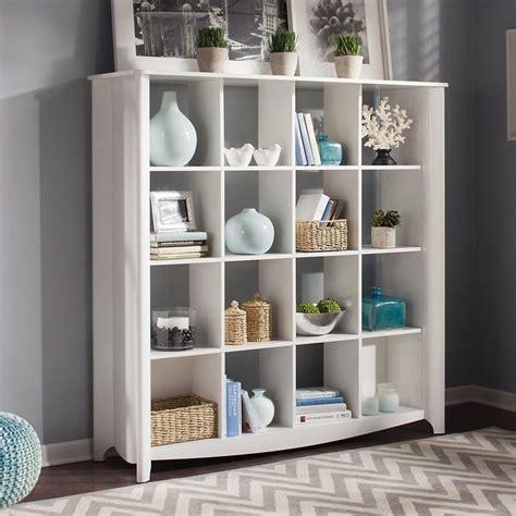 pure home decor bush furniture aero 16 cube bookcase room divider in pure