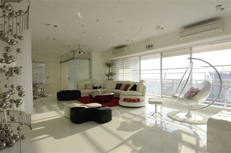 high end living room high end residential project at malad modern living room