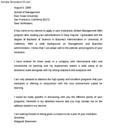 professional mba admission cover letter sle templates
