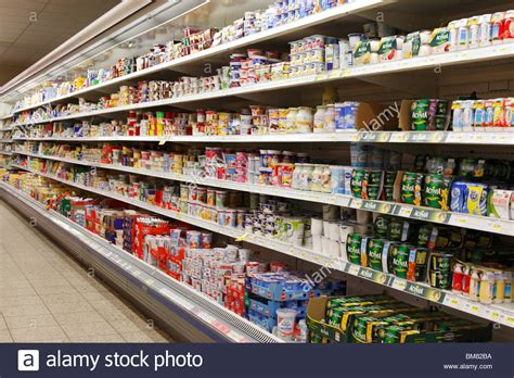 Shelf Supermarket by Dairy Products In A Refrigerated Shelf In A Supermarket Stock Photo Royalty Free Image