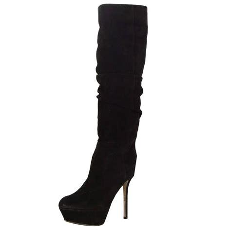 sergio black suede platform boots sz 36 5 for sale