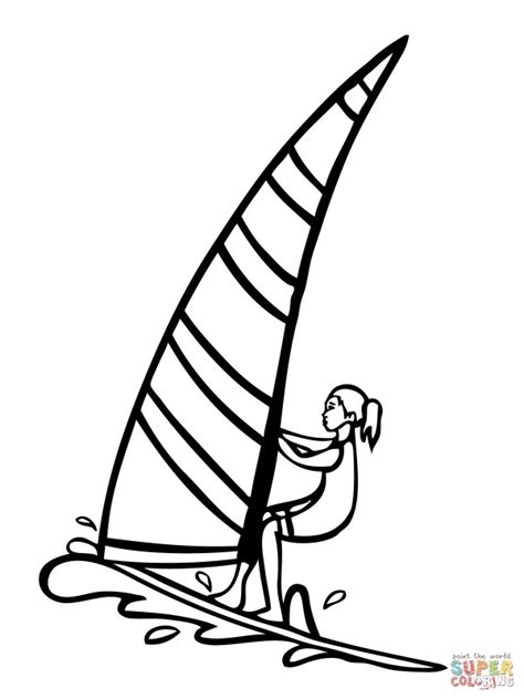 windsurfer template coloring sail boards coloring pages