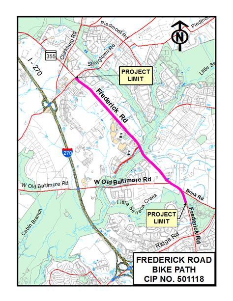 maryland bicycle map frederick road bike path