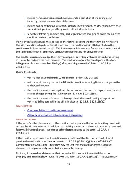 Sle Letter Credit Bureau Identity Theft Guide For Assisting Identity Theft Victims