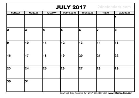 July 2017 Calendar Template Calendar Printable Free Template For 2017 Calendar