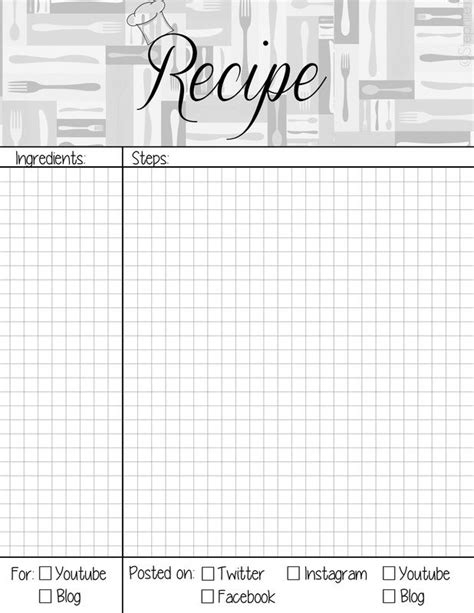 weekly recipe planner template recipe book page planner agenda weekly template free