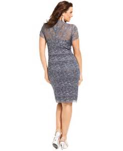 marina plus size cap sleeve lace cocktail dress in gray lyst