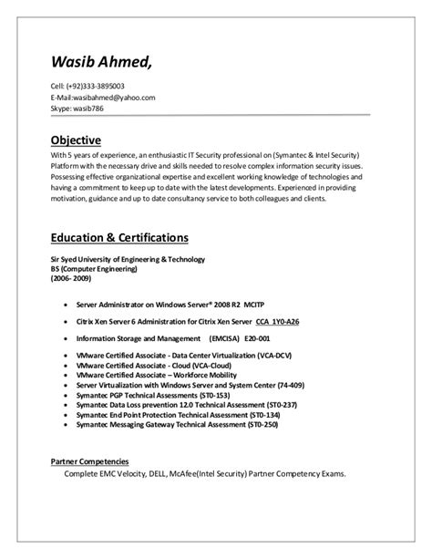 Sle Resume For Data Security Analyst Position 28 Information Security Resume Exles Professional Information Security Analyst Templates To