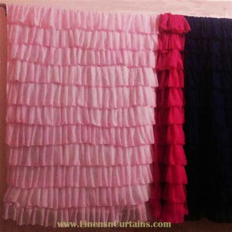 pink chiffon curtains baby pink shabby chic chiffon ruffle layered curtain