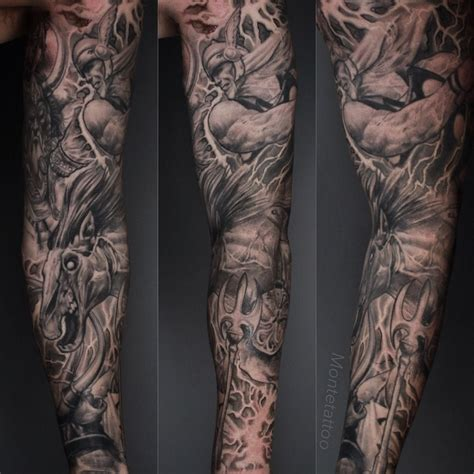 thor tattoos montetattoo thor loki sleeve thor loki gods black grey